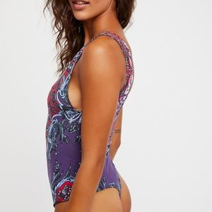 Free People Mixed Print Bodysuit Size M